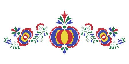 Tradycyjny ornament ludowy, ornament morawski z regionu Slovacko, symbol haftu kwiatowego na białym tle, ilustracji wektorowych