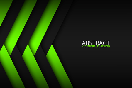 Abstract background with green and black layers above each other, modern design template for your business, vector illustration with oblique stripes and lines Illusztráció