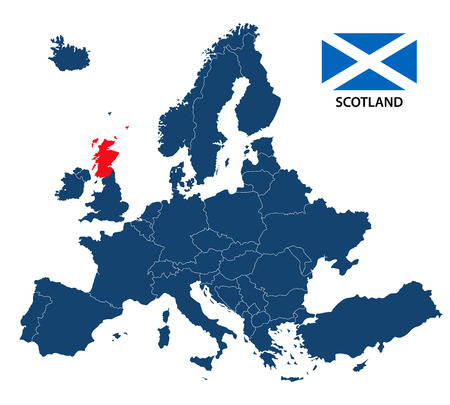 A Vector illustration of a map of Europe with highlighted Scotland and Scottish flag isolated on a white background