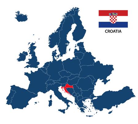 Vector la ilustración de un mapa de Europa con Croacia destacada y la bandera croata aislada en un fondo blanco
