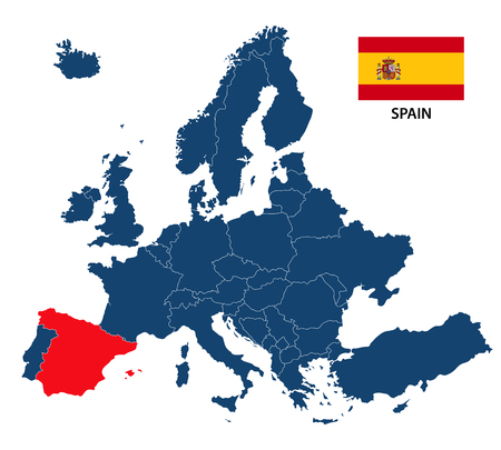 A Vector illustration of a map of Europe with highlighted Spain and Spanish flag isolated on a white background