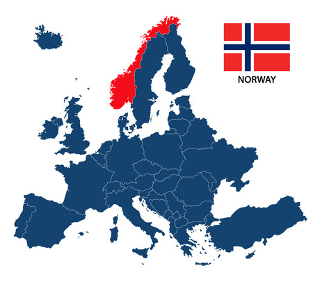 Vector illustration of a map of Europe with highlighted Norway and Norwegian flag isolated on a white background