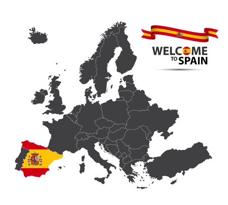 A Vector illustration of a map of Europe with the state of Spain in the appearance of the Spanish flag and Spanish ribbon isolated on a white background
