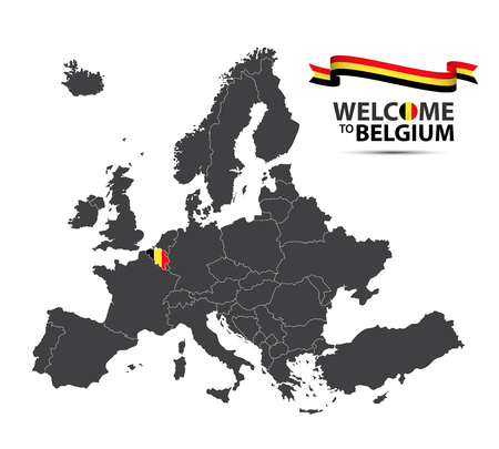 Vector illustration of a map of Europe with the state of Belgium in the appearance of the Belgian flag and Belgian ribbon isolated on a white background