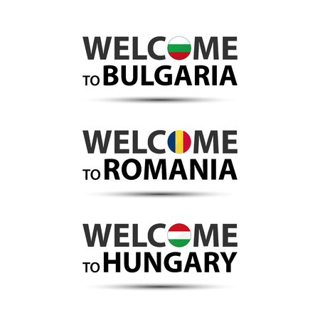 Welcome to Bulgaria, welcome to Romania and welcome to Hungary symbols with flags, simple modern Bulgarian, Romanian and Hungarian icons isolated on white background, vector illustration