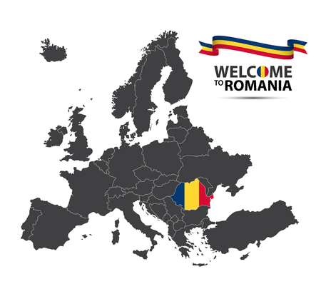 A Vector illustration of a map of Europe with the state of Romania in the appearance of the Romanian flag and Romanian ribbon isolated on a white background