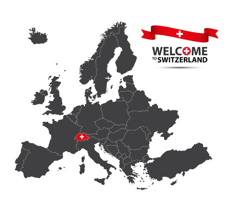 A Vector illustration of a map of Europe with the state of Switzerland in the appearance of the Swiss flag and Swiss ribbon isolated on a white background Illustration