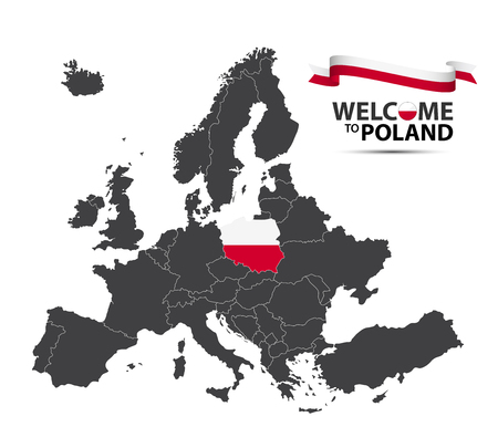Vector illustration of a map of Europe with the state of Poland in the appearance of the Polish flag and Polish ribbon isolated on a white background Illustration