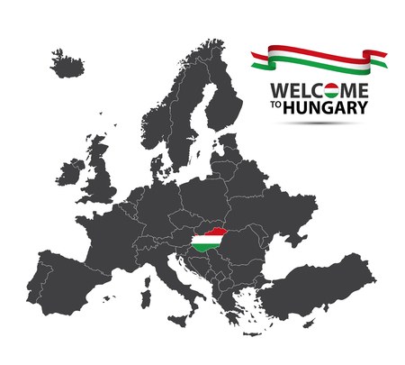 Vector illustration of a map of Europe with the state of Hungary in the appearance of the Hungarian flag and Hungarian ribbon isolated on a white background Illustration