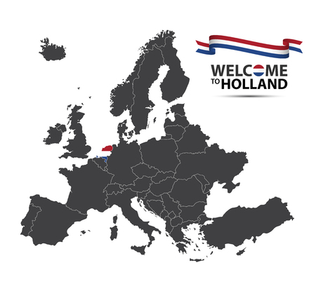 Vector illustration of a map of Europe with the state of Netherlands in the appearance of the Dutch flag and Dutch ribbon isolated on a white background