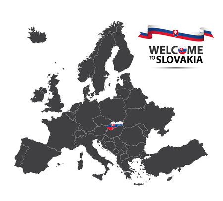 Vector illustration of a map of Europe with the state of Slovakia in the appearance of the Slovak flag and French ribbon isolated on a white background