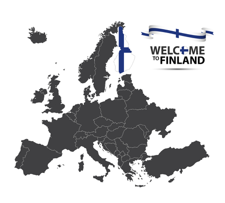 Vector illustration of a map of Europe with the state of Finland in the appearance of the Finnish flag and Finnish ribbon isolated on a white background
