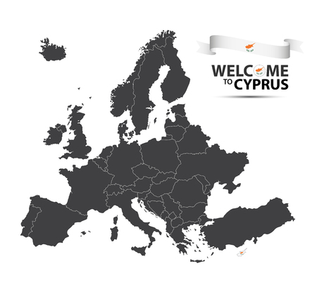 Vector illustration of a map of Europe with the state of Cyprus in the appearance of the Cypriot flag and Cypriot ribbon isolated on a white background