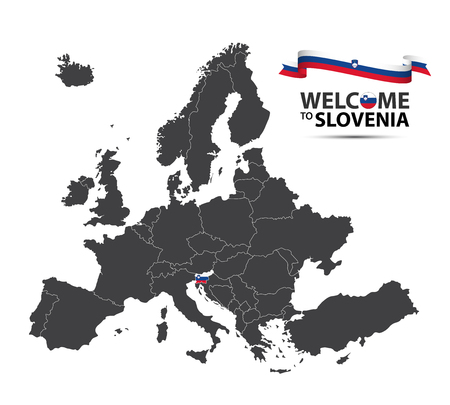 Vector illustration of a map of Europe with the state of Slovenia in the appearance of the Slovenian flag and Slovenian ribbon isolated on a white background