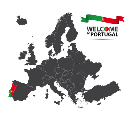 Vector illustration of a map of Europe with the state of Portugal in the appearance of the Portuguese flag and Portuguese ribbon isolated on a white background