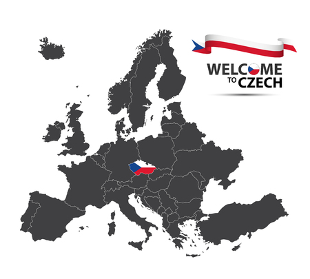 Vector illustration of a map of Europe with the state of Czech Republic in the appearance of the Czech flag and Czech ribbon isolated on a white background