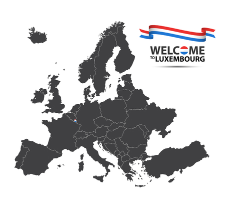 Vector illustration of a map of Europe with the state of Luxembourg in the appearance of the Luxembourgish flag and Luxembourgish ribbon isolated on a white background