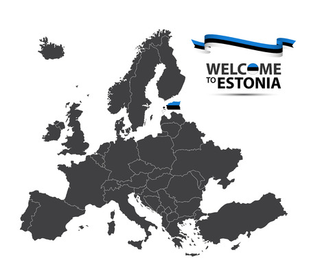 Vector illustration of a map of Europe with the state of Estonia in the appearance of the Estonian flag and Estonian ribbon isolated on a white background