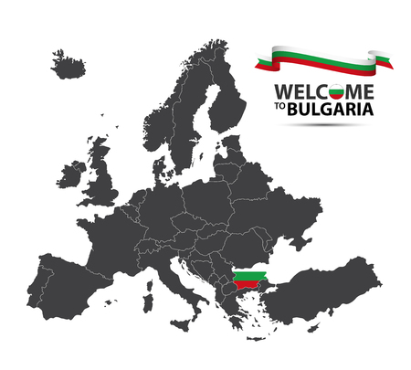 Vector illustration of a map of Europe with the state of Bulgaria in the appearance of the Bulgarian flag and Bulgarian ribbon isolated on a white background Illustration