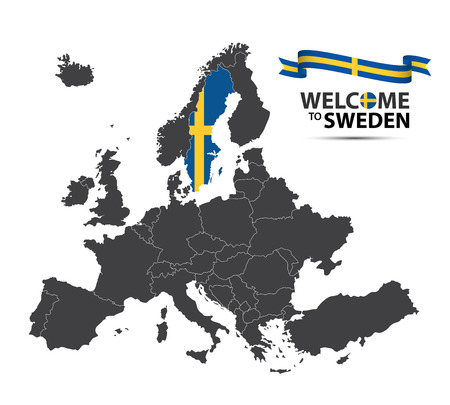 Vector illustration of a map of Europe with the state of Sweden in the appearance of the Swedish flag and Swedish ribbon isolated on a white background Illustration