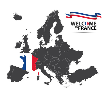 Vector illustration of a map of Europe with the state of France in the appearance of the French flag and French ribbon isolated on a white background