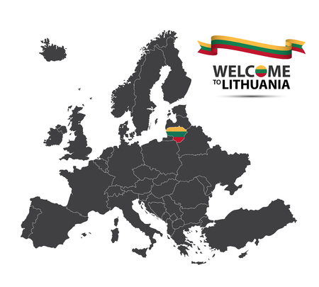 Vector illustration of a map of Europe with the state of Lithuania in the appearance of the Lithuanian flag and Lithuanian ribbon isolated on a white background