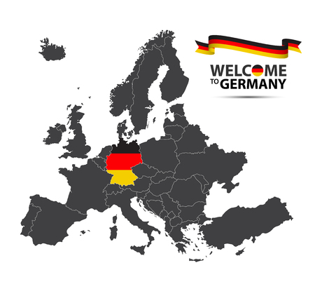 A Vector illustration of a map of Europe with the state of Germany in the appearance of the German flag and German ribbon isolated on a white background