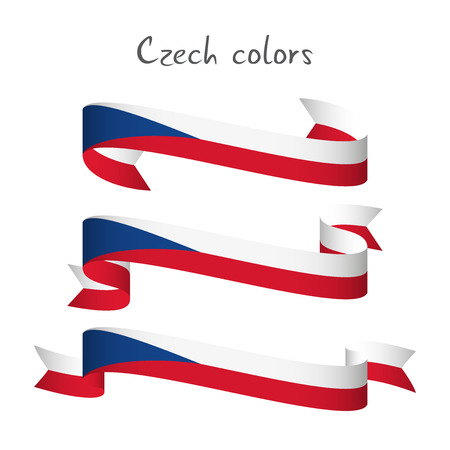 Set of three modern colored vector ribbon with the Czech tricolors isolated on white background, abstract Czech flag, Made in Czech Republic logo, Czechia Illustration