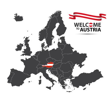 白い背景に隔離されたオーストリア国旗とオーストリアのリボンの外観でオーストリアの状態とヨーロッパの地図のベクトル図