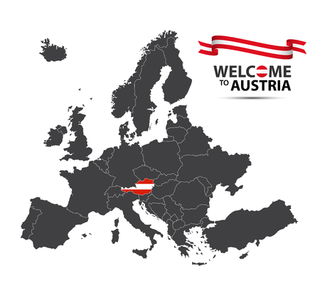 Vector illustration of a map of Europe with the state of Austria in the appearance of the Austrian flag and Austrian ribbon isolated on a white background