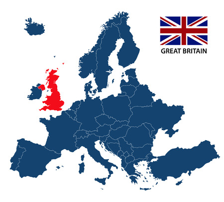 Vector illustration of a map of Europe with highlighted Great Britain and British flag isolated on a white background Illustration