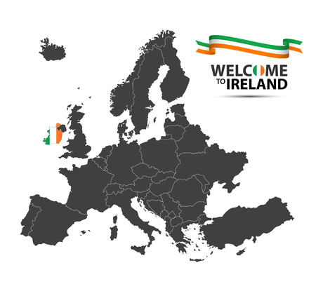 Vector illustration of a map of Europe with the state of Ireland in the appearance of the Irish flag and Irish ribbon isolated on a white background