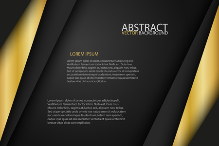 Black background overlap gold and black sheets, modern abstract widescreen background with place for your text or message