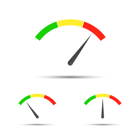 Set of color vector tachometers, flow meter with indicator in green, orange and red part, speedometer.
