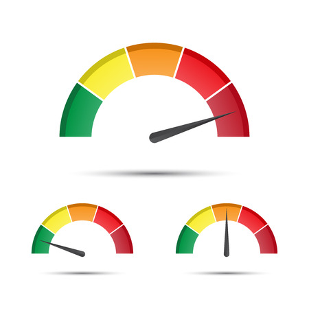 Set of color vector tachometers, flow meter with indicator in green, orange and red part, speedometer and performance measurement icon. Illustration for your web page, info-graphic, apps and leaflet, low, moderate, high parts. Ilustração