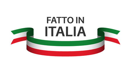 Gemaakt in Italië, in de Italiaanse taal - Fatto in Italia, gekleurd lint met Italiaanse driekleur geïsoleerd op een witte achtergrond Vector Illustratie