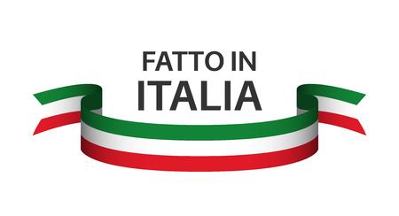 Gemaakt in Italië, in de Italiaanse taal - Fatto in Italia, gekleurd lint met Italiaanse driekleur geïsoleerd op een witte achtergrond Stockfoto - 98754702