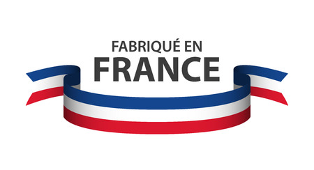 Made in France, colored ribbon with French tricolor isolated on white background