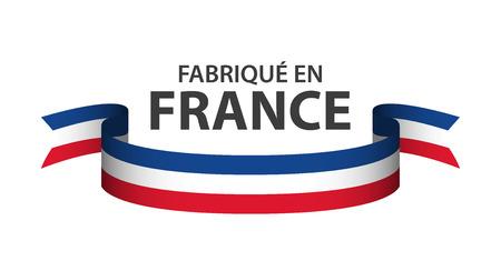 프랑스 삼색 흰색 배경에 고립 된 컬러 리본 프랑스에서 만든
