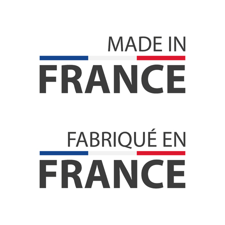 Two simple vector symbols Made in France, simple vector symbols with French tricolor isolated on white background Vectores