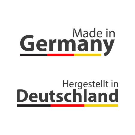 Deux symboles vectoriels simples fabriqués en Allemagne, en allemand - Hergestellt in Deutschland, signes avec le tricolore allemand isolé sur fond blanc