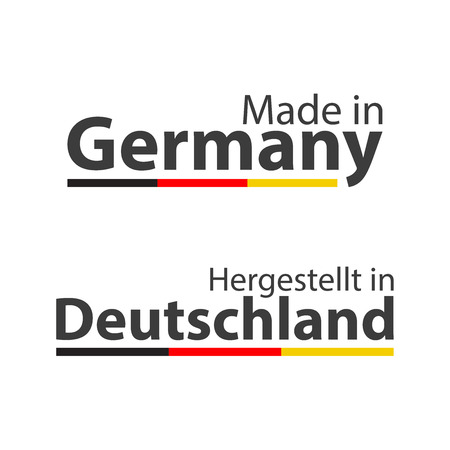 Two simple vector symbols Made in Germany, In German - Hergestellt in Deutschland, signs with the German tricolor isolated on white background