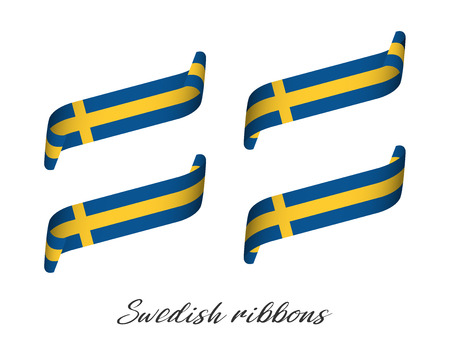 Set of four modern colored vector ribbons in Swedish colors isolated on white background, flag of Sweden, Swedish ribbons