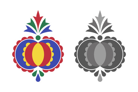 Traditional folk ornament, the Moravian ornament from region Slovacko, floral embroidery symbol isolated on white background Ilustração