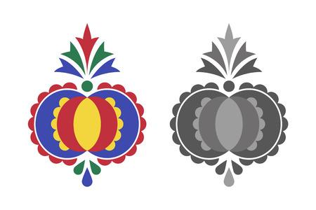 Traditionelle Volksverzierung, die mährische Verzierung aus der Region Slovacko, Blumenstickereisymbol lokalisiert auf weißem Hintergrund