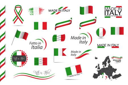 Grande set di nastri italiani, simboli, icone e bandiere isolati su sfondo bianco, Made in Italy, Welcome to Italy, premium quality, Italian tricolore, set for your infographics and templates