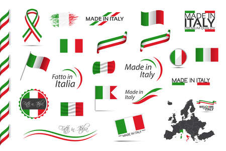 Großer Satz italienischer Bänder, Symbole, Symbole und Fahnen lokalisiert auf weißem Hintergrund, Made in Italy, Willkommen in Italien, Premium-Qualität, italienische Trikolore, Set für Ihre Infografiken und Vorlagen
