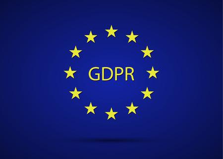 Règlement général sur la protection des données GDPR avec les étoiles de l'Union européenne, illustration vectorielle simple sur fond bleu