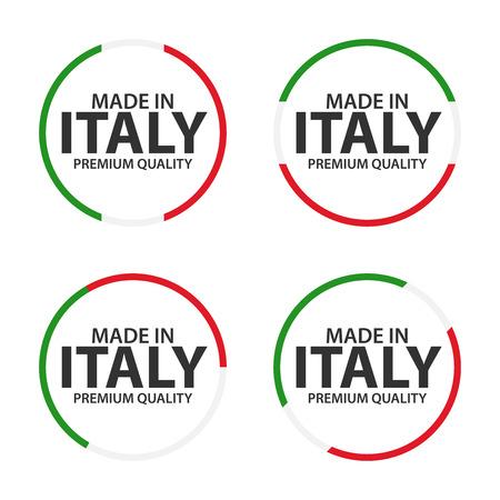 Set di quattro icone italiane, Made in Italy, adesivi e simboli di alta qualità, semplice illustrazione vettoriale isolato su sfondo bianco Vettoriali