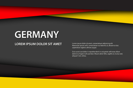 Modern vector background, overlayed sheets of paper in the look of the German flag, Made in Germany, German colors and grey free space for your text Иллюстрация